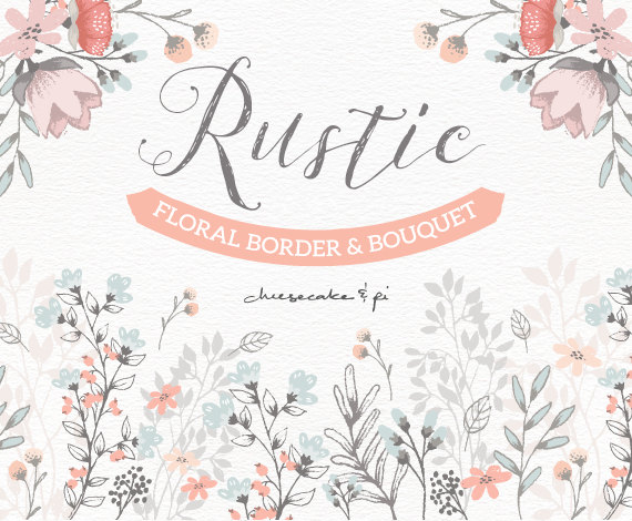 Floral border & bouquet: Rustic hand drawn floral clip art.
