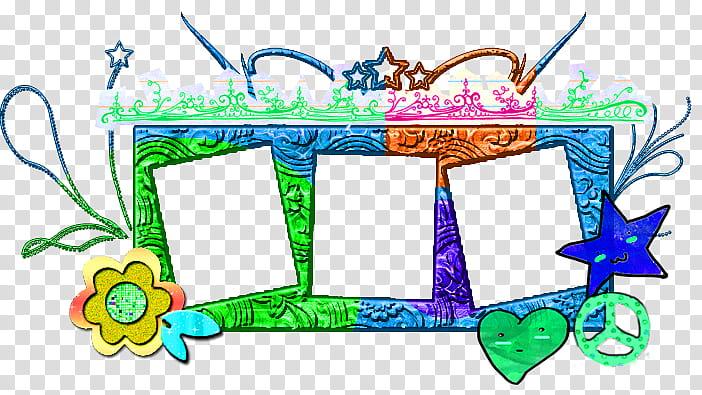 Multicolored collage frame illustration transparent.