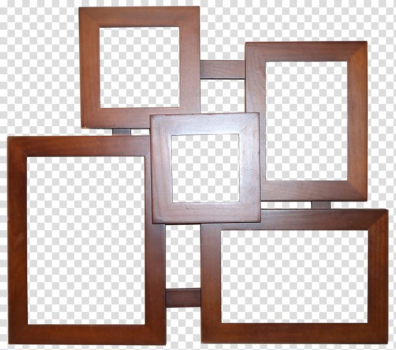 Wooden Frame HB, brown wooden collage frame transparent background.