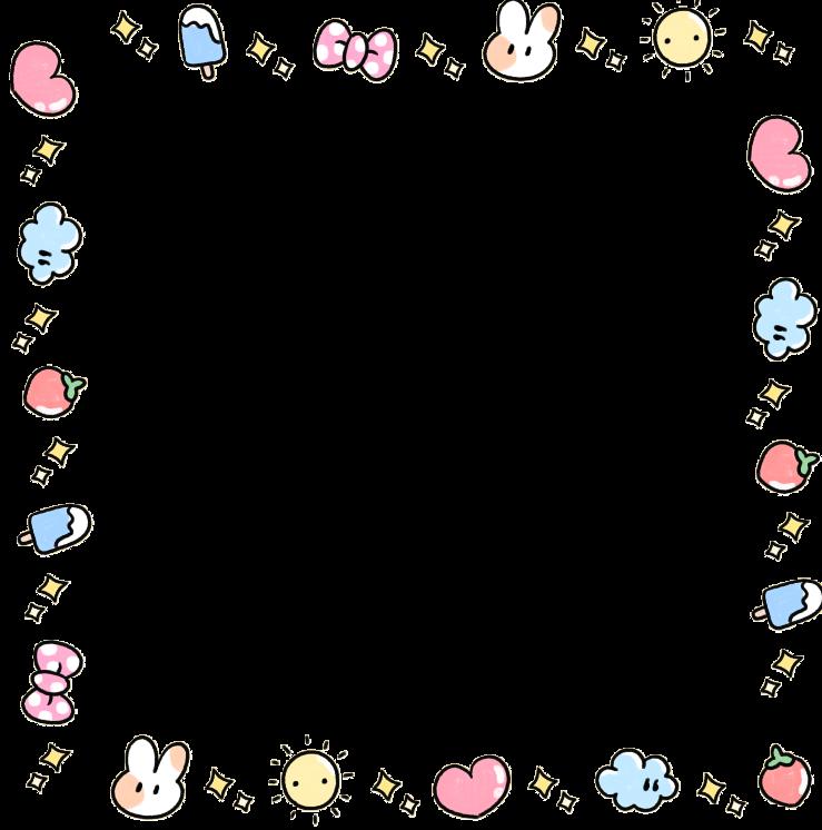 kawaii cute adorable bunny pastel love heart frame fram.