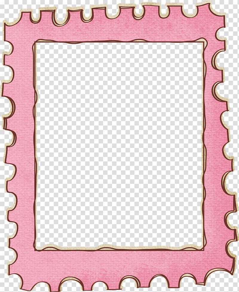 Pink puzzle mat frame, Postage stamp frame , Cute stamps border.