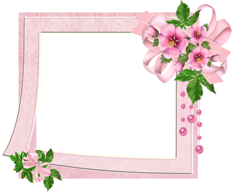 Cute Pink Transparent Photo Frame with Flowers.