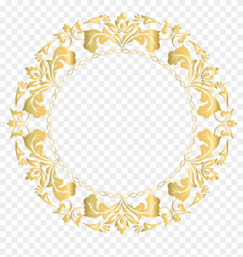Free Png Download Floral Gold Round Border Frame Clipart.