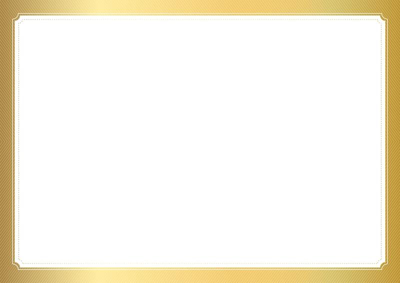 Frame , Empty Certificate Template , gold border transparent.