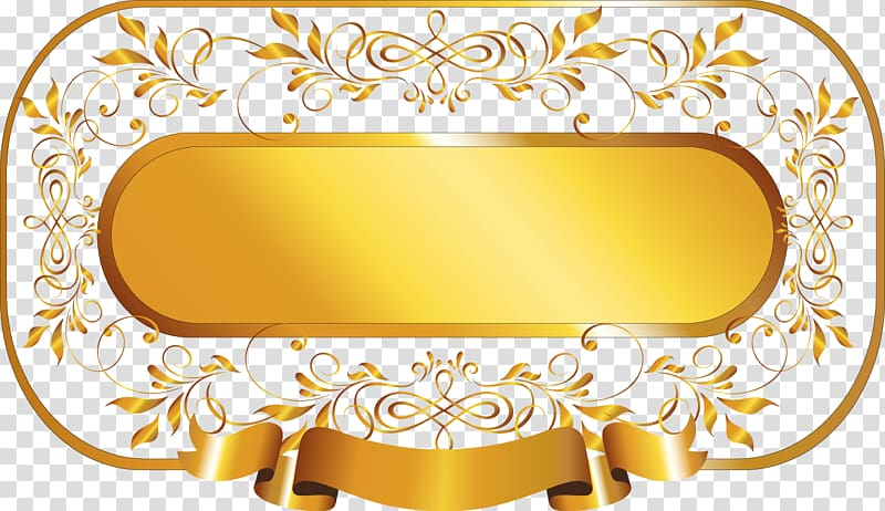Oval gold signage art, Gold, painted gold frame transparent.