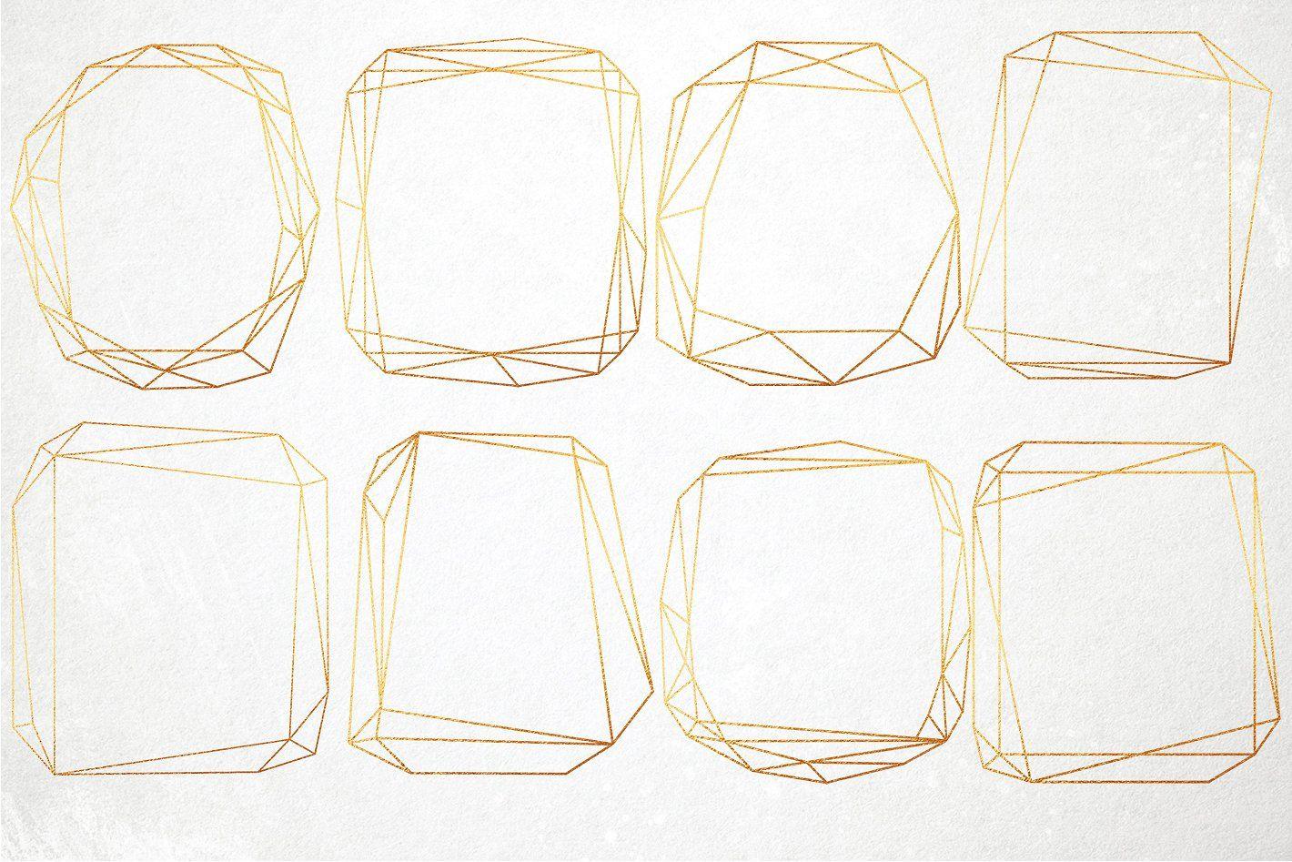 Gold geometric frames clip art #splashes#watercolor#elements.
