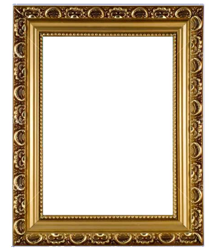 Golden photo frame png image transparent.