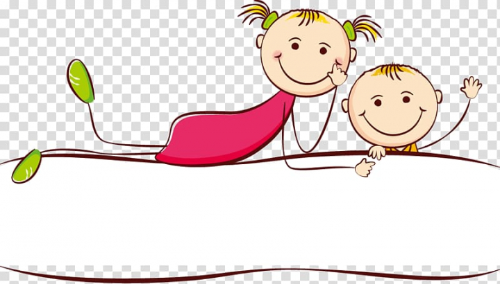 Boy and girl illustration, Child Drawing Cartoon, Cute.