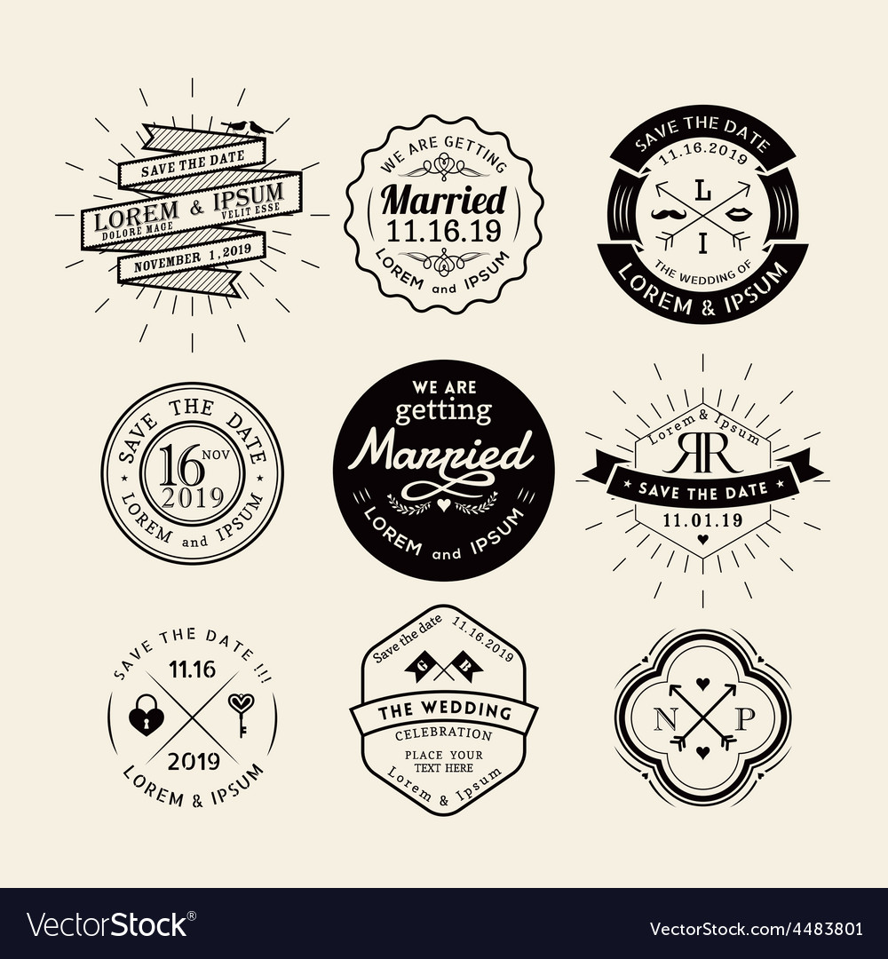Vintage retro wedding logo frame design element.