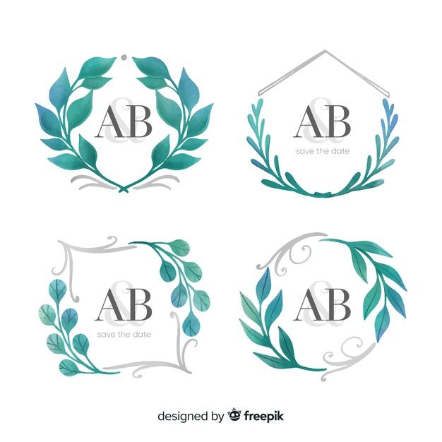 Watercolor wedding frame logo collection Vector.