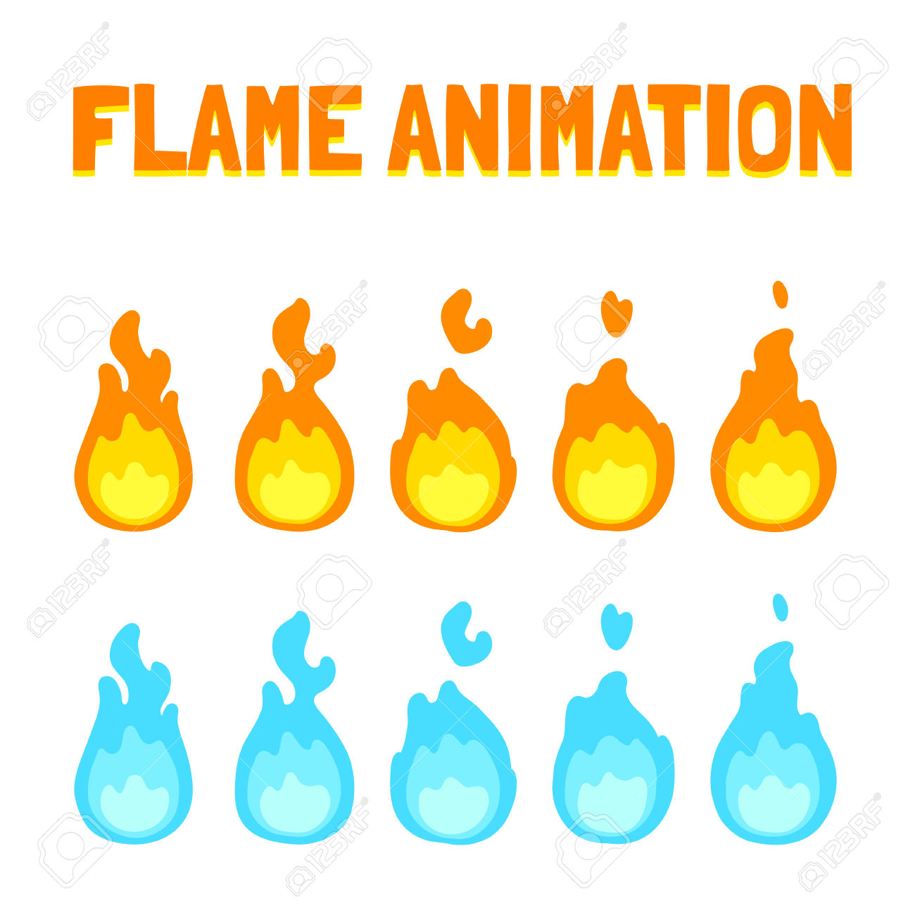 Cartoon Flame Animation For Game. Normal And Blue Magic Fire.