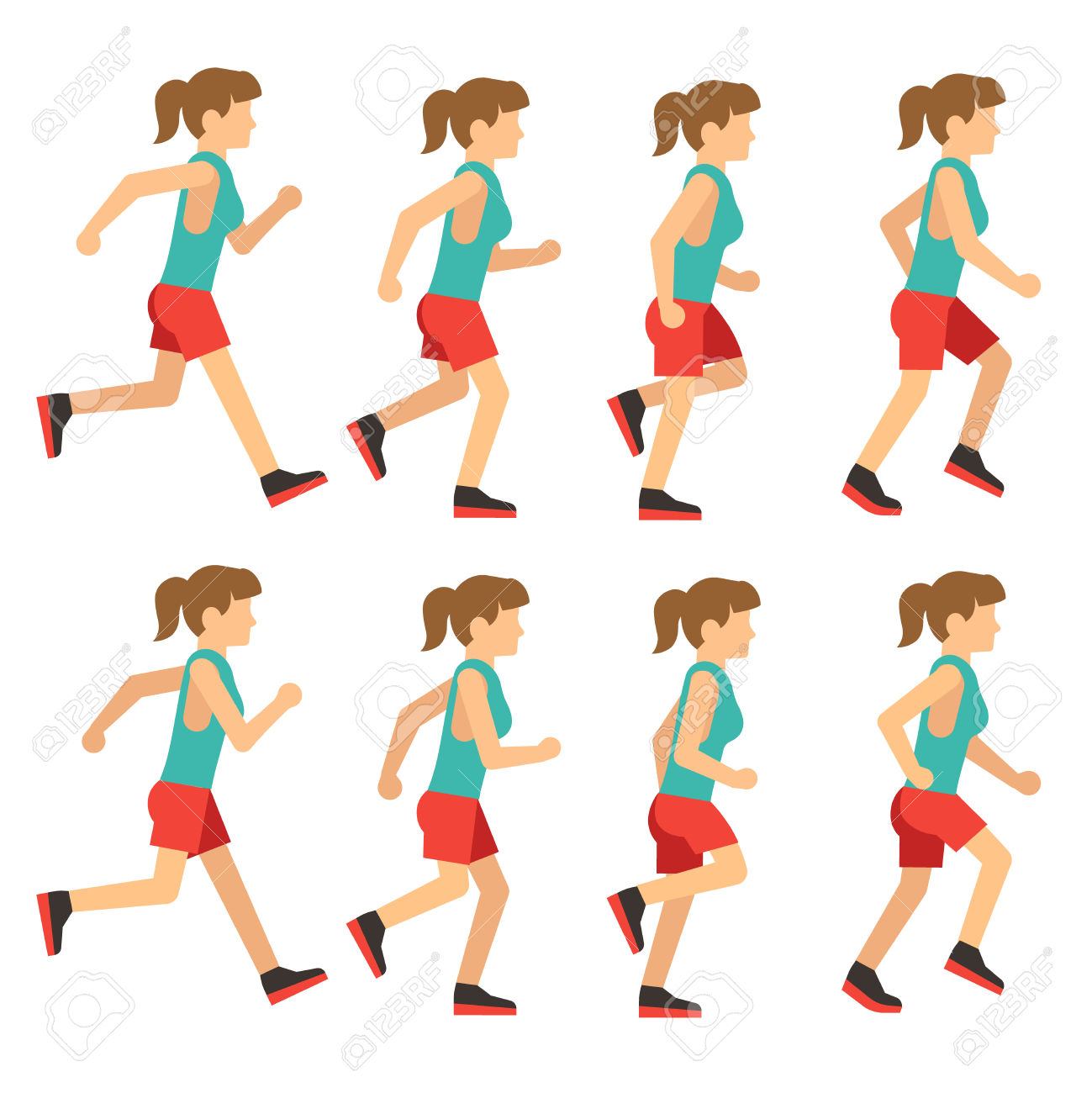 Running Woman, Female Runner Animation Frame Loop Sequence.