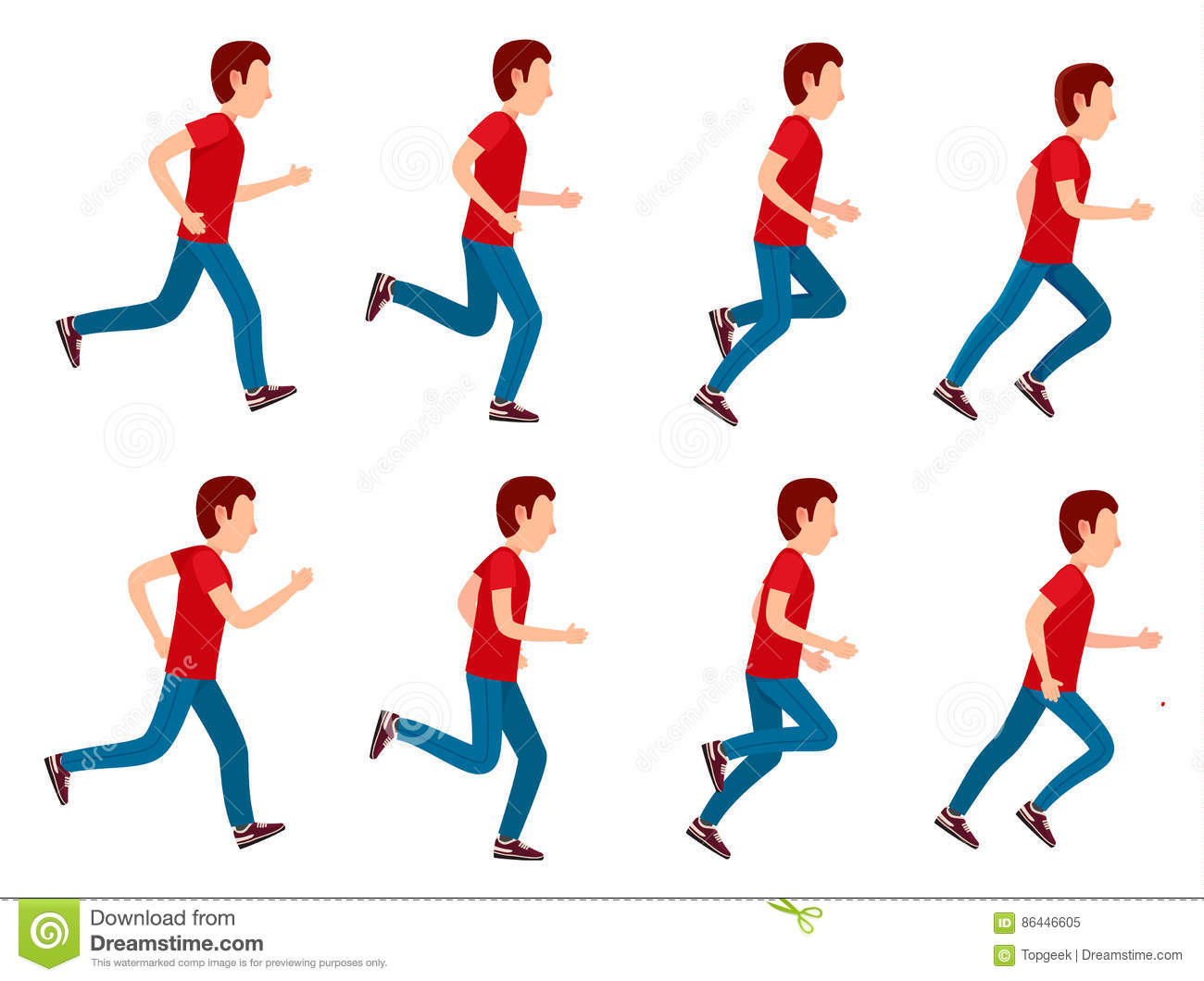 Running Man Animation Sprite Set. 8 Frame Loop. Stock Vector.
