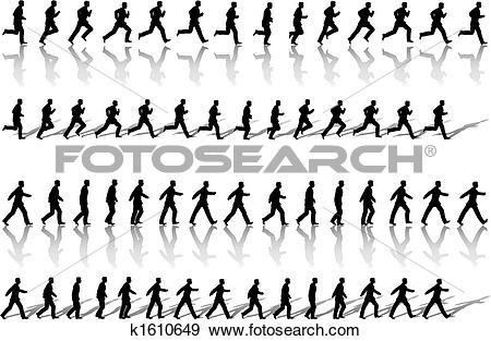 Clip Art of Business Man Frame Sequence Loops Run & Power Walk.