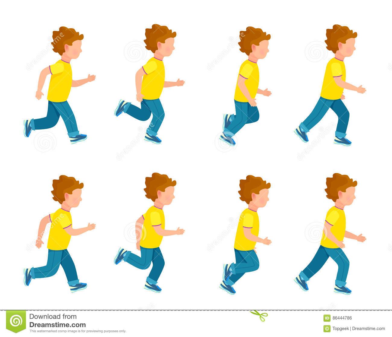 Running Boy Animation Sprite Set. 8 Frame Loop. Stock Vector.