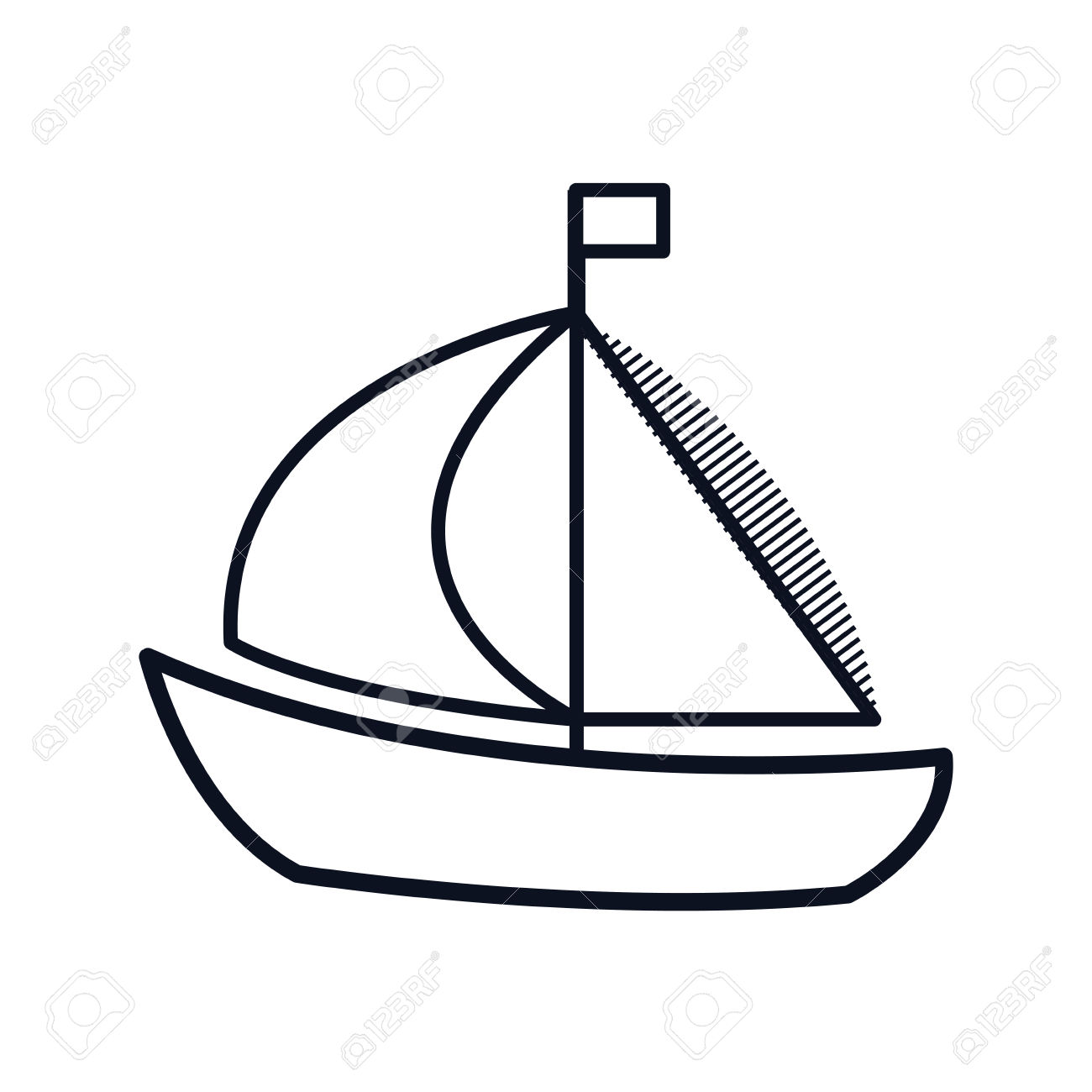 Sailboat Maritime Frame Icon Vector Illustration Design Royalty.