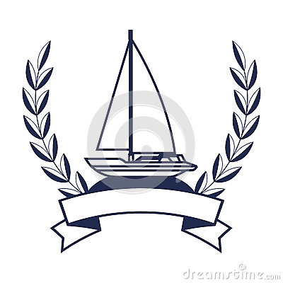 Sailboat Maritime Frame Icon Stock Vector.
