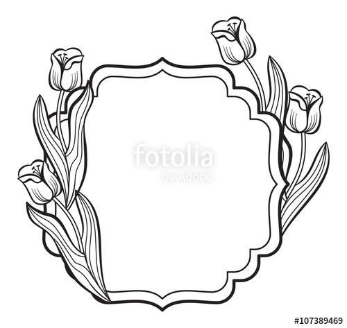 Elegant frame with outline tulips. Vector clip art.