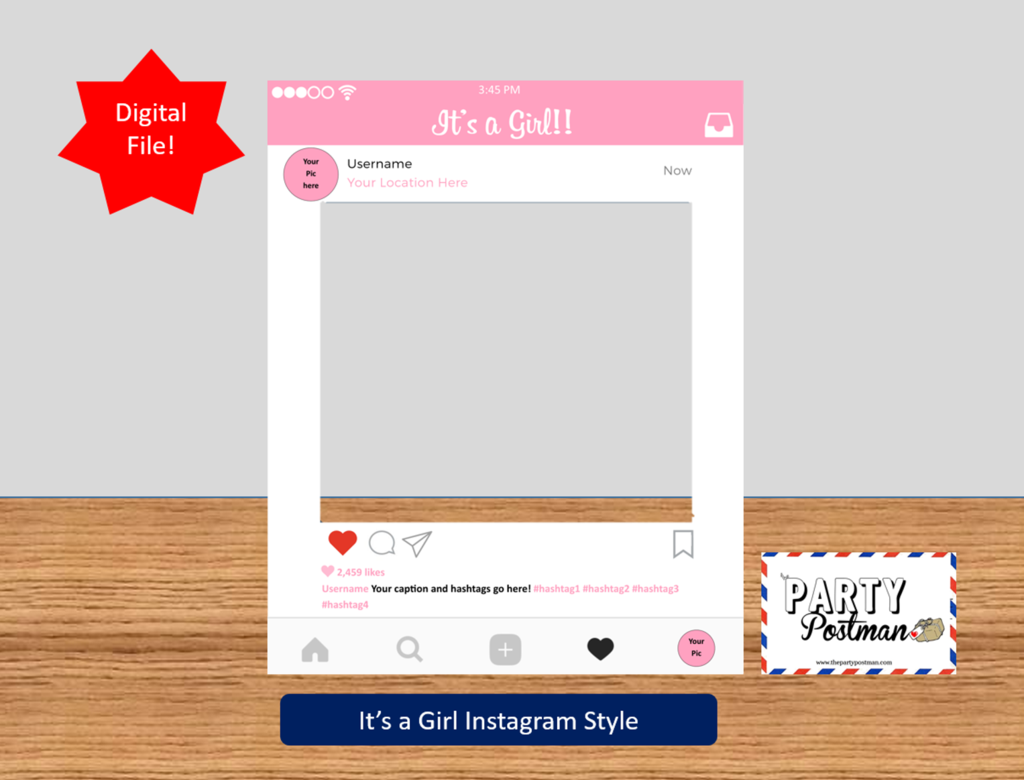 baby girl Instagram Frame Photo Booth Prop Instagram Prop (Digital File  Only).