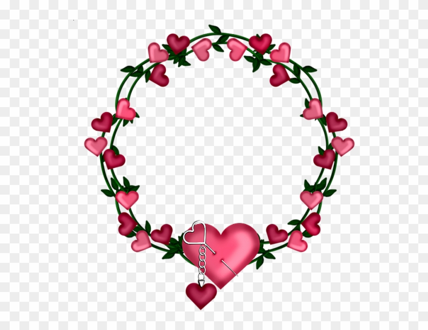 Transparent Frame Wreath With Hearts.