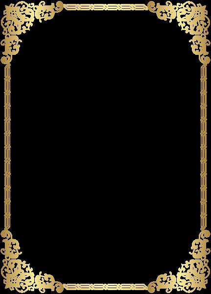 Gold Border Frame Transparent Clip Art Image.