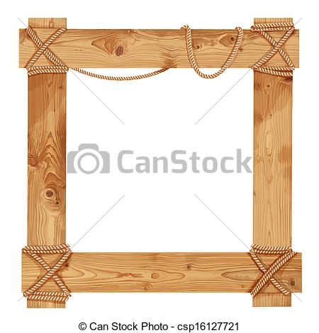 Vector Illustration of Wooden frame fastened together with ropes.