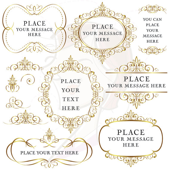 Gold Flourish Frames Clip Art Digital Vintage Decorative VECTOR.