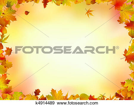Clip Art of Fall leaves frame k4914489.