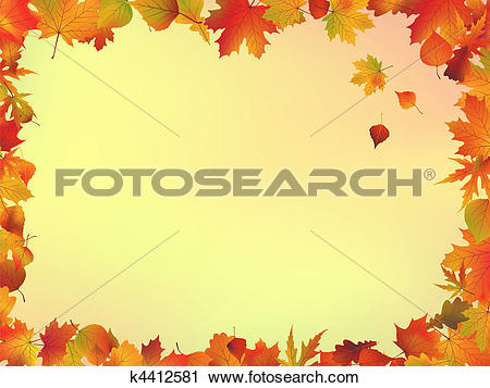 Clipart of Fall leaves frame k4412581.
