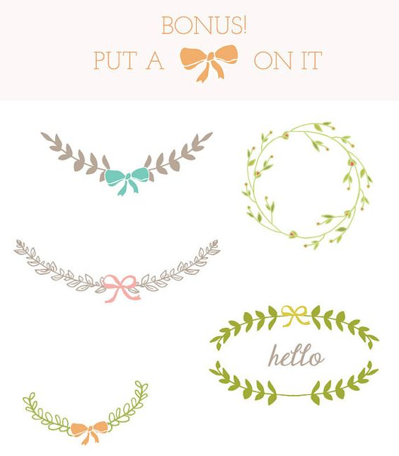 Put a bow on it! Laurel Clip Art Frame Clip Art Leaves Clip Art by.
