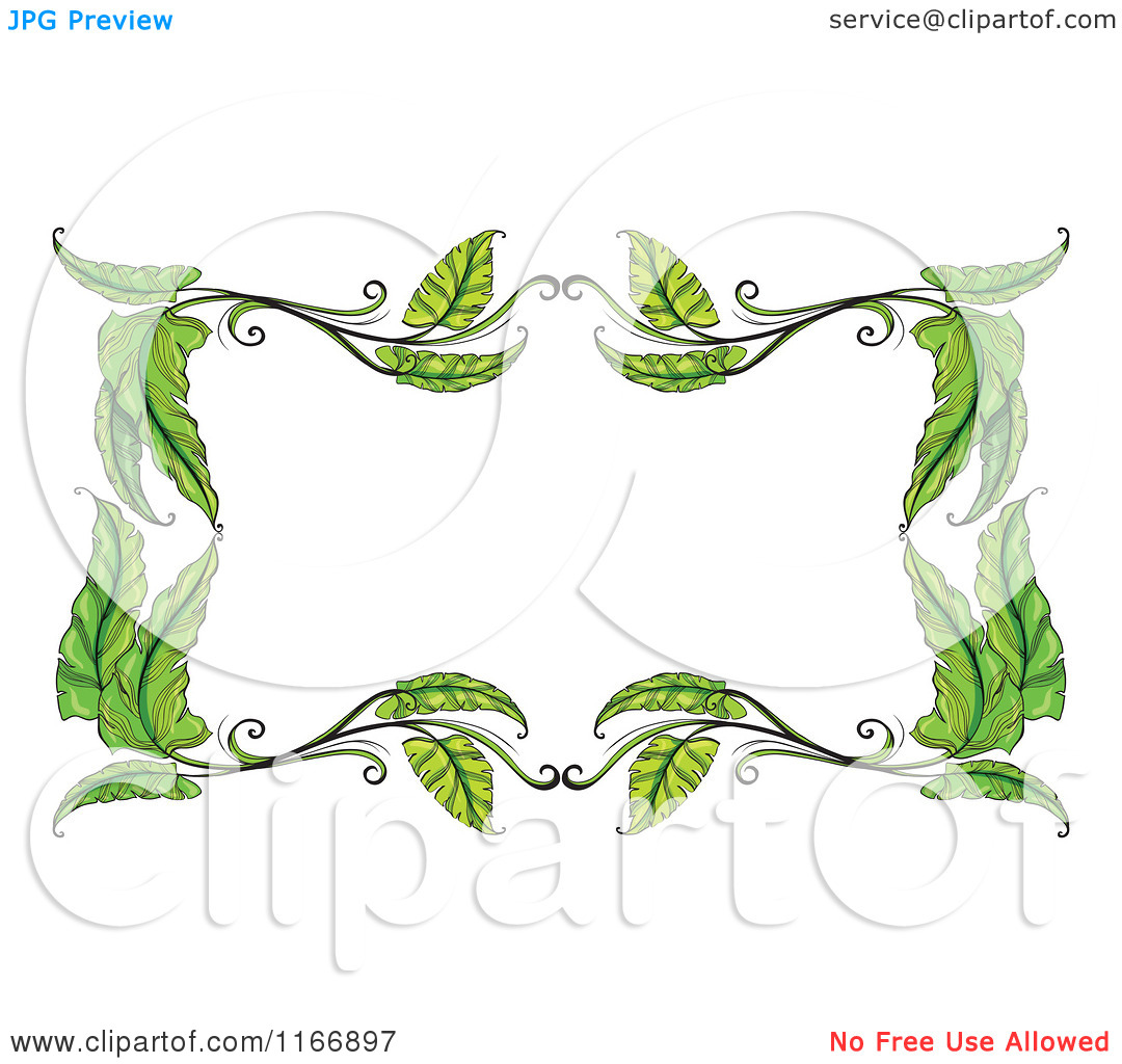Cartoon of a Green Leaf Frame.