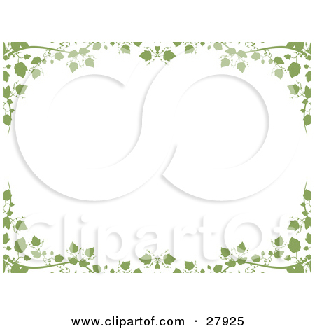 Clipart Illustration of a White Background Framed With Green Ivy.