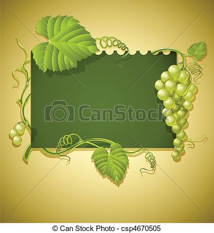 Clipart Vector of vintage frame with grapes and green leaves.