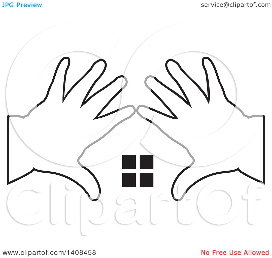 Clipart of Black and White Silhouetted Hands Framing Windows.