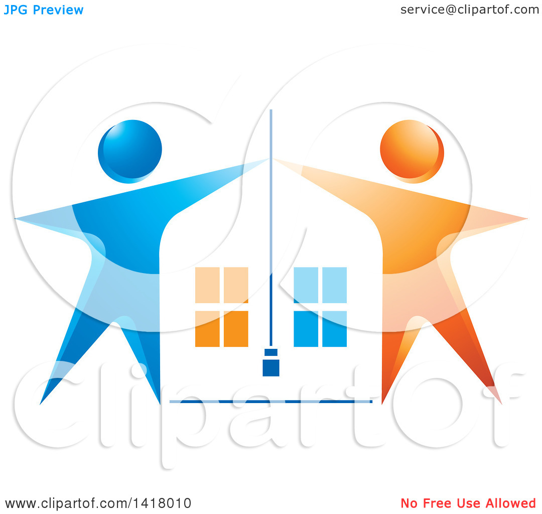 Clipart of a House Framed with Blue and Orange People.