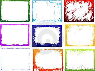 Grunge Color Frames Set Stock Photography.