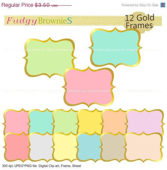 ON SALE Gold frames clip art,color background frame, frame A.