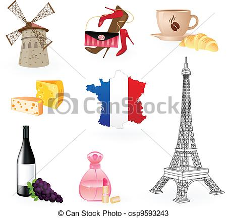Vectors of Collection icons of symbols of France. csp9593243.