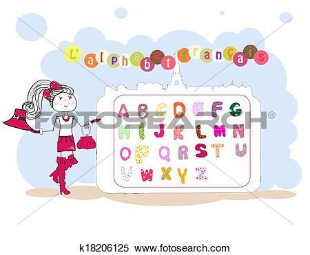 Clipart of French alphabet vector. alphabet fran?ais k18206125.