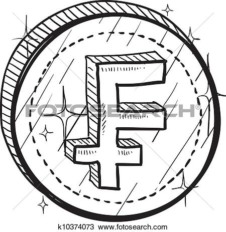 Clipart of French Franc symbol sketch k10374073.