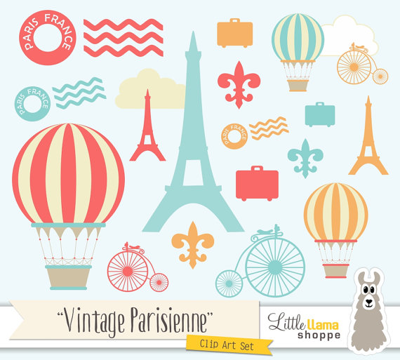 Paris Clip Art France Clipart Vintage Paris by LittleLlamaShoppe.