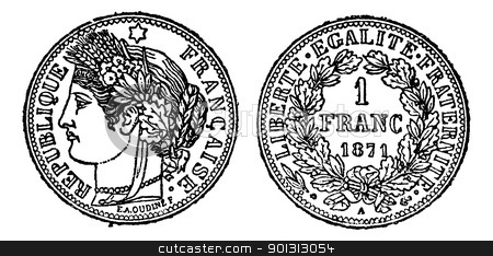 Piece of silver 1 franc, vintage engraving stock vector.
