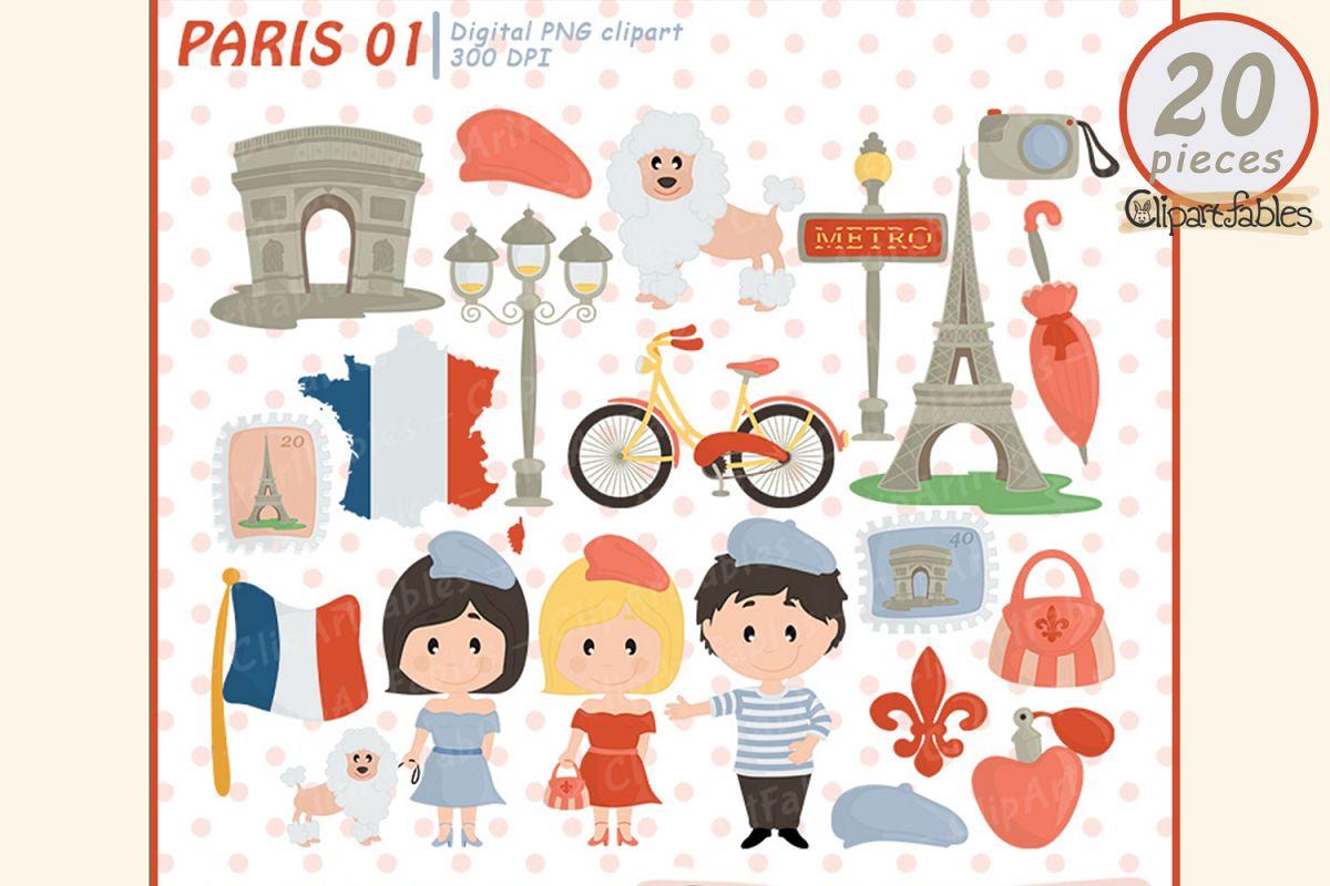 PARIS clipart, Cute Eiffel tower, Travel clip art, France.