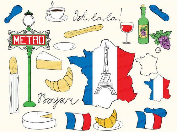 France clipart eiffel tower paris clipart map french flag baguette.