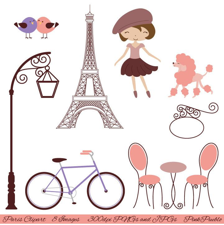 Paris Clip Art Clipart, French Clipart Clip Art with Eiffel.