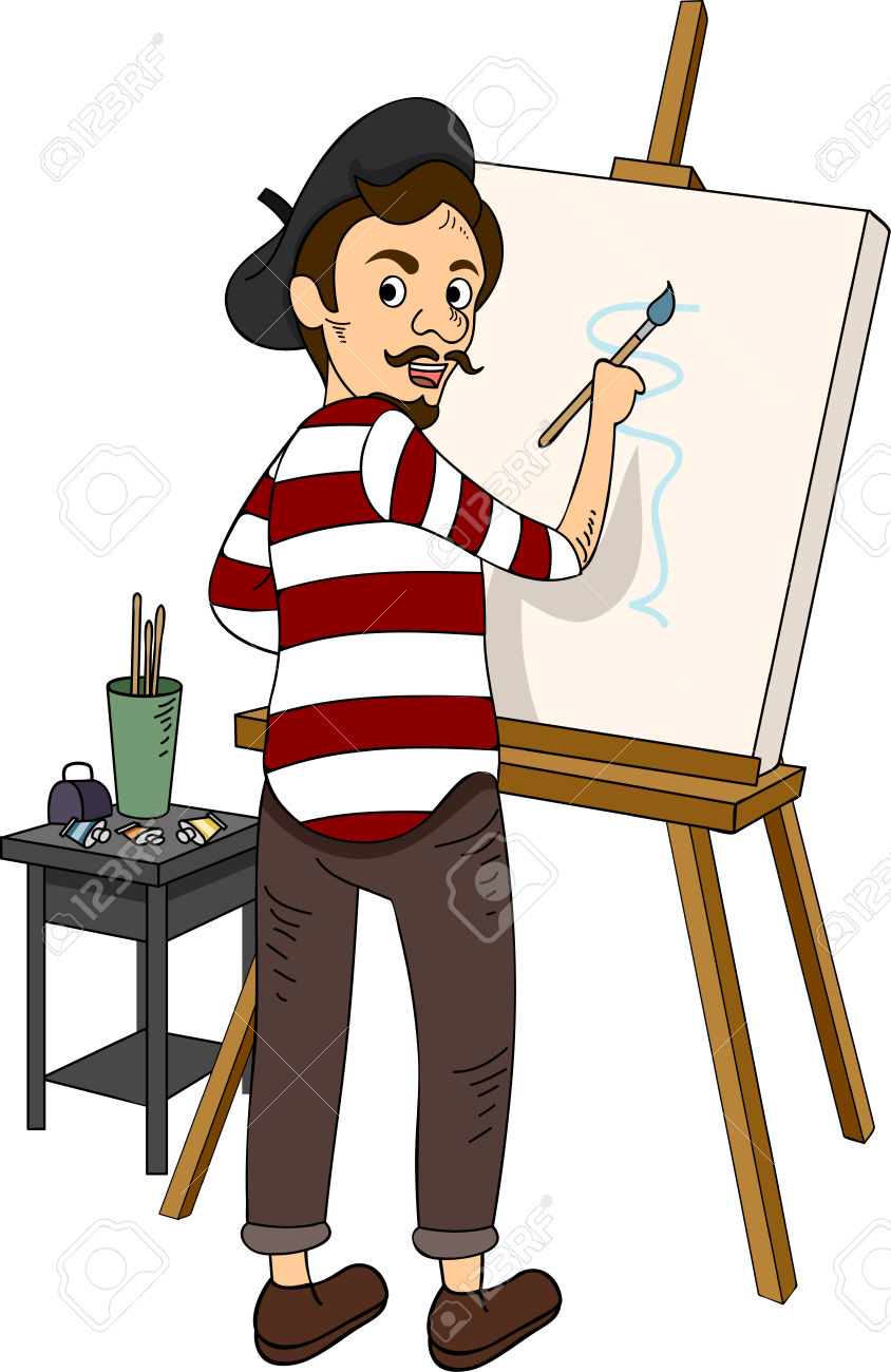 Illustration Featuring A French Painter Royalty Free Cliparts.