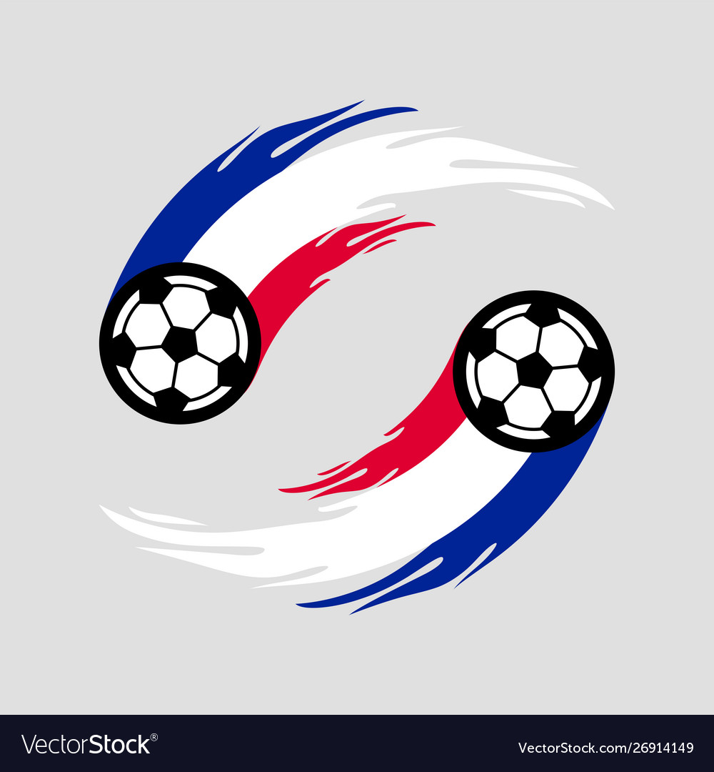 Soccer or football with fire tail in france flag.