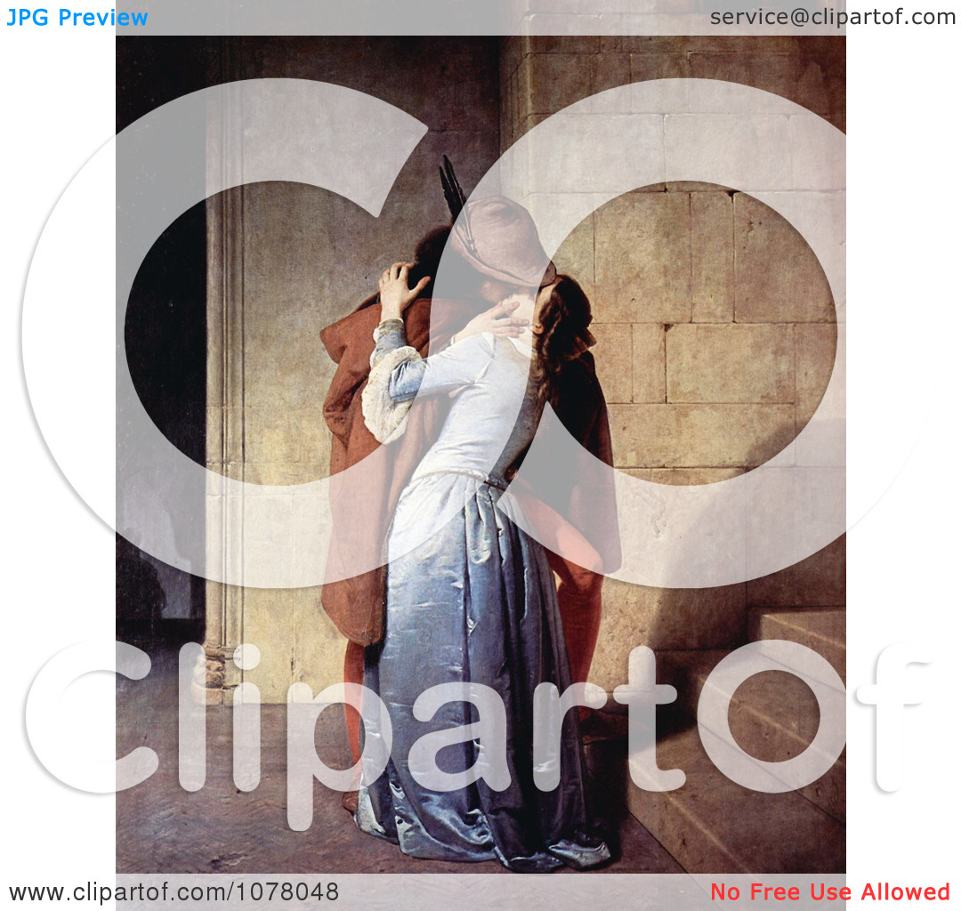 Man Passionately Kissing a Woman at the Base of a Staircase, The.