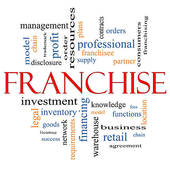 Clip Art of Franchise Word Cloud Concept in Red & Black k10599892.