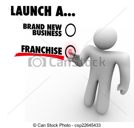 Drawings of Launch Franchise or Brand New Business Entrepreneur.